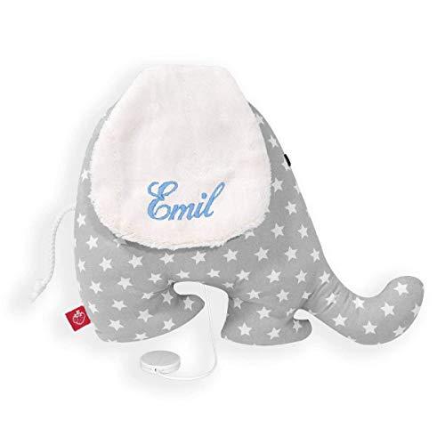 Caja de música elefante con nombre estrella gris bebé