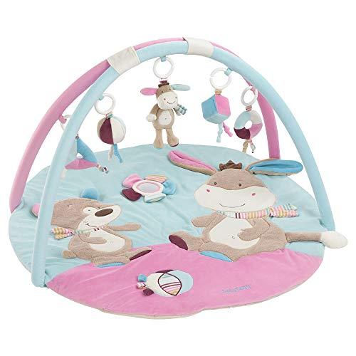 Fehn 081657 Manta de actividad 3-D burro / arco de juego con 5 juguetes extraíbles para que los bebés jueguen y se diviertan desde el nacimiento / dimensiones: Ø85cm