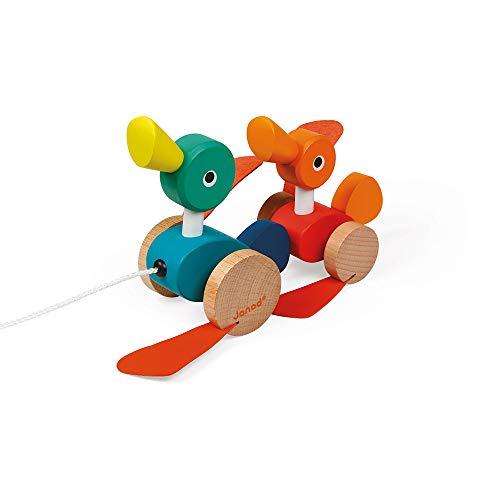 Janod J08211 Zigolos patitos de madera, con certificado FSC, juguete de arrastre para niños pequeños, para niños a partir de 1 año, multicolor