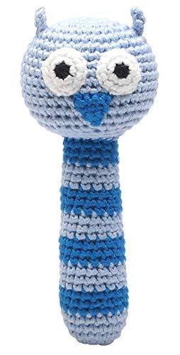 natureZOO sonajero de ganchillo (búho azul claro)