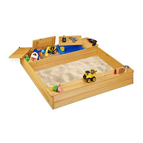 Relaxdays 10033854 Cajón de arena con compartimento de barro, cajón de arena de madera, plástico, con banco, 125 x 120 cm, cajón de arena para niños, natural