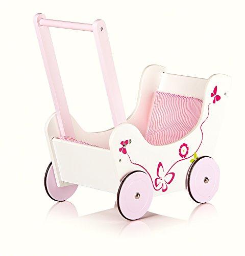 Andador para bebés Leomark butterfly de madera para niños - ROSA - cochecito de muñecas con ropa de cama, andador con ruedas de madera engomadas