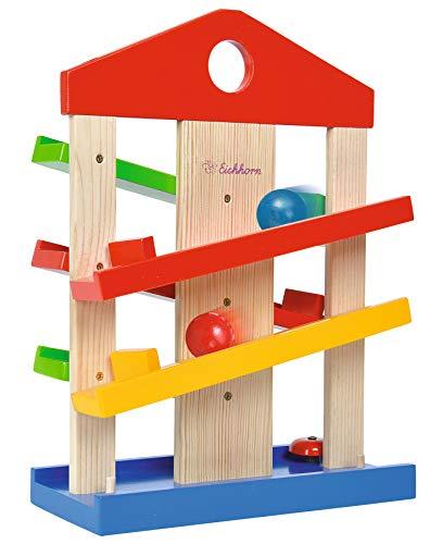 Eichhorn 100002025 Casa de pista de bolas, 4 piezas, pista de rodillos de madera colorida con campana y tres bolas de madera de tilo, juguetes de habilidades motoras para niños a partir de 1 año, tamaño: 25 x 34 cm