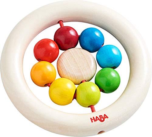 HABA 305581 - Juguete de agarre de bolas de arco iris, juguete de madera para niños a partir de 6 meses, entrena la motricidad fina, el primer agarre y la percepción, anillo de agarre para bebés de madera con bolas