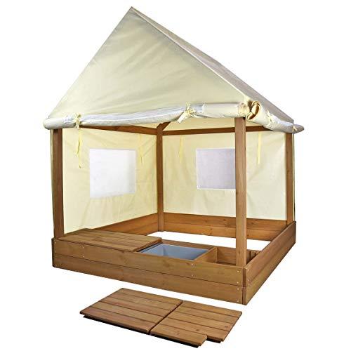 Cajón de arena Meppi con techo y paredes laterales - Cajón de arena elegante para su hogar - Casa del cajón de arena - Pabellón del cajón de arena con cubierta