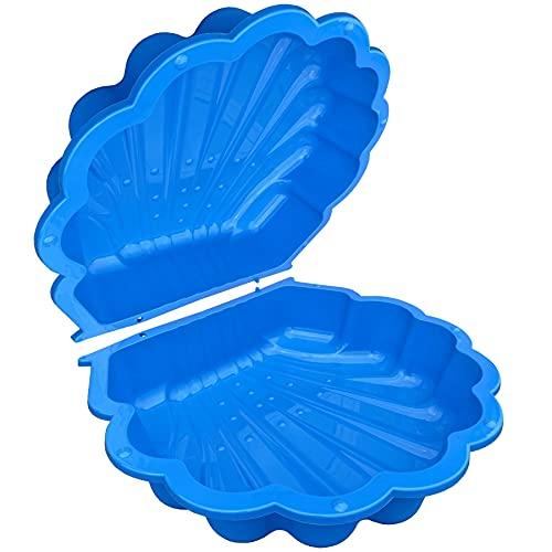TikTakToo arena y mejillón de agua I Cajón de arena con tapa (2 partes) I (azul)