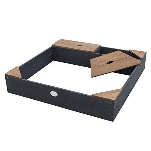 Arenero Amy AXI de madera FSC con lona antracita y marrón |  Caja de arena con tapa para niños con banco, zona de estar y espacio de almacenamiento |  115 x 115 cm