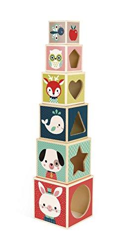 Janod J08016 pirámide apilable Baby Forest 6 cubos