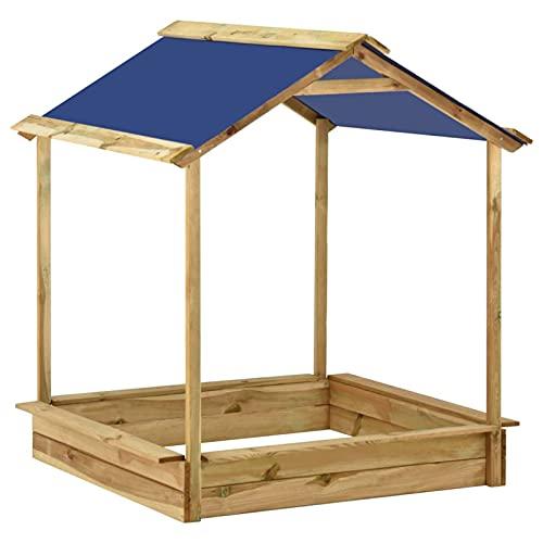 Cajón de arena con techo Tidyard, casa de juegos con cajón de arena de madera, casa de juegos para niños Casa de juegos 128 x 120 x 145 cm