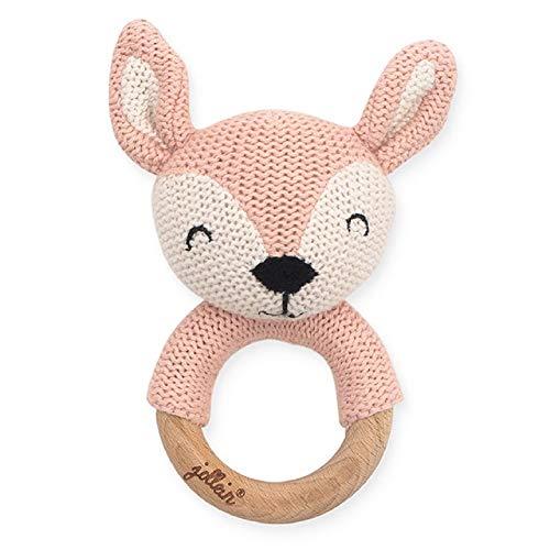 Jollein 054-014-65322 anillo de dentición, ciervo rosa pálido, rosa, diámetro - 7 cm, 36 g