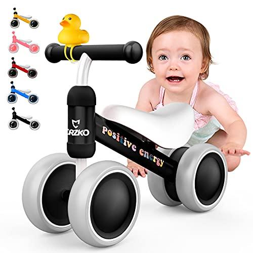 Bicicleta de equilibrio para niños CRZKO, bicicleta de equilibrio para niños pequeños Bicicleta de equilibrio para niños a partir de 1 año Bicicleta para caminar con 4 ruedas sin pedal para niños y niñas de 10 a 24 meses como regalo.