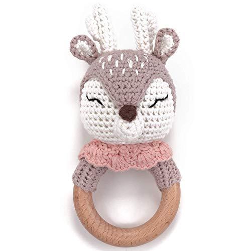 Mordedor de ganchillo lindo ciervo con sonajero de bebé integrado, mordedor de juguete de agarre    Regalo de nacimiento, baby shower, hecho a mano para bebé y niños niño / niña (ciervo)