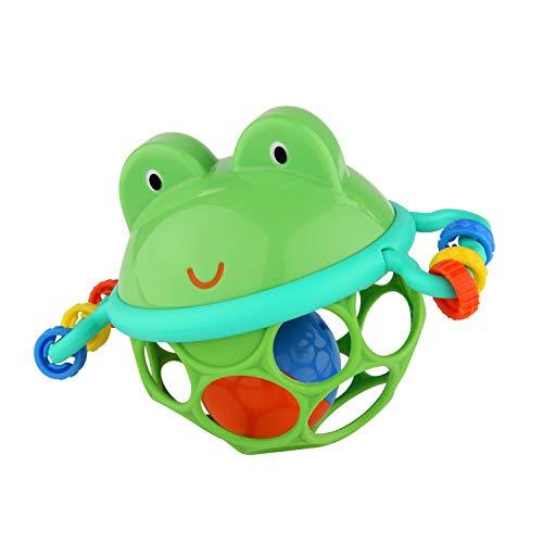 Bright Starts, Oball Jingle & Shake Pal, bola de agarre de rana con bola de campana, anillo de agarre y bolas de empuje en un diseño flexible y fácil de agarrar