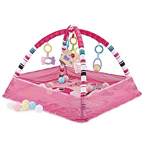 Colorwind Arco de juego para bebés, manta de juego para bebés, tapete para bebés, tapete para juegos con redes de seguridad, 5 juguetes colgantes desmontables, 18 bolas de mar, apto para entre 3 y 12 meses