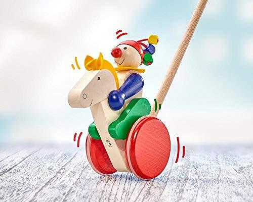 Selecta 62029 Trotto, figura de empuje, juguete para empujar y tirar de madera, 17 cm