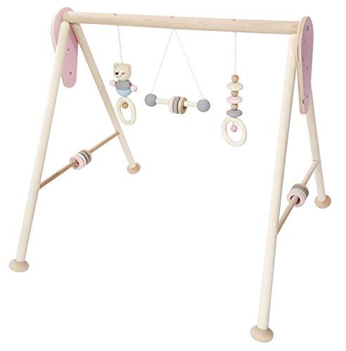 Juguete de madera Hess 13382 - dispositivo de juego de madera, serie oso, para bebés, arco de juego hecho a mano con figuras y sonajeros, rosa natural, aprox.60 x 58 x 55 cm