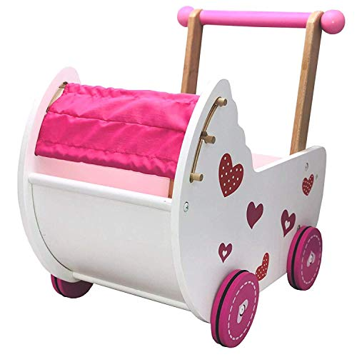 Cochecito de muñecas Eco Toys, muebles para muñecas, andador, carrito rosa / blanco con ropa de cama