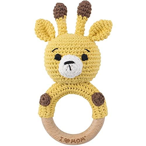 RUBY sonajero hecho a mano, mordedor de madera para bebé, mordedor de madera para bebé, anillos de agarre, regalo para bebé, regalo para niña, caja de música para niña, baby shower, anillo de madera, juguete de madera (jirafa amarilla)