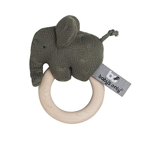 BO BABY'S ONLY - elefante sonajero bebé - juguete para bebé 0+ meses - hecho de madera - con peluche de punto - caqui