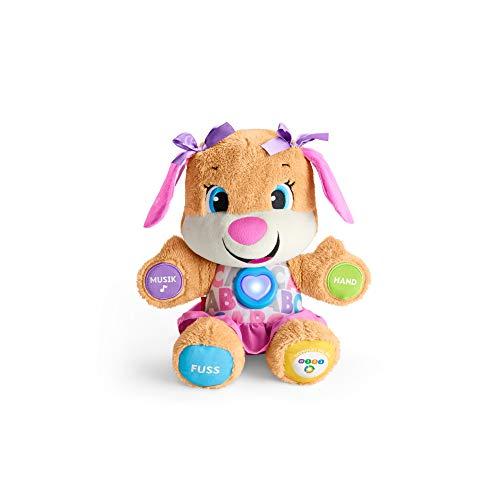 Fisher-Price FPP53 - aprendizaje divertido perro amigo, juguetes para bebés y peluches, juguetes educativos con canciones y frases, niveles que crecen con el niño, juguetes a partir de los 6 meses, en alemán