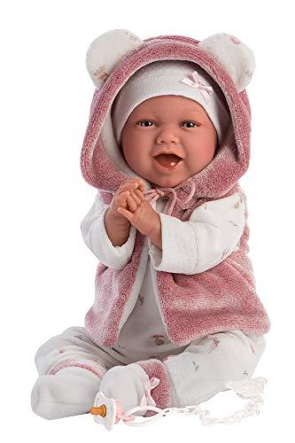 Llorens 1074070 L muñeca Mimi, con ojos azules y cuerpo blando, muñeca con traje rosa, chupete, cadena y manta suave con lindas orejas, 42cm