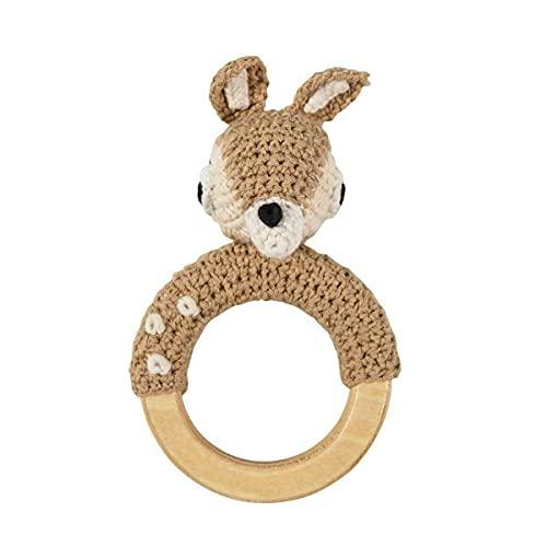 Sebra golden baby crochet rattle agarre juguete crochet REH Dixi fawn marrón claro