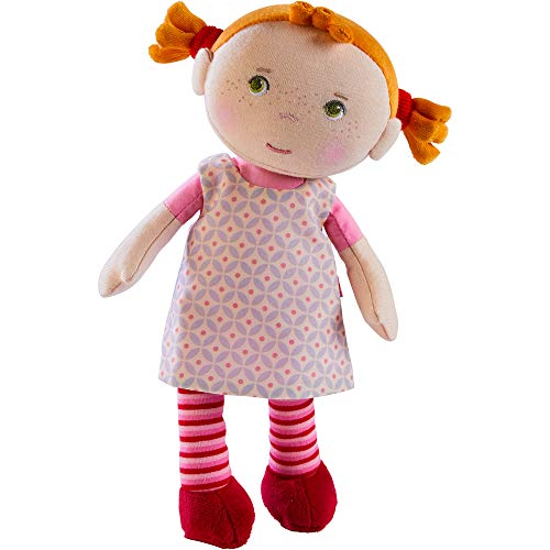 Haba 303730 - Peluche Roya, suave muñeco de trapo, para bebés de 1, 5 años, con pelele de felpa mullida, regalo ideal para nacimiento o bautizo