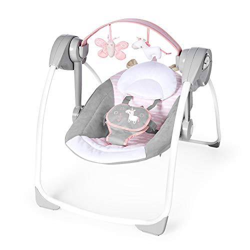 Ingenuity, Flora the Unicorn, columpio portátil para bebés con 6 velocidades de swing, 3 configuraciones de temporizador, 12 melodías relajantes y más
