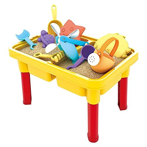 WISHTIME mesa de arena y agua para niños - mesa de juego de playa, cajón de arena con cubierta para niños pequeños