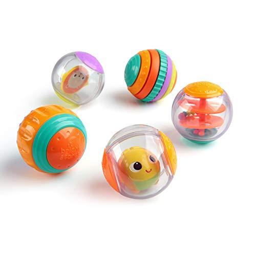 Bright Starts, Shake & Spin 5 bolas de juego fáciles de agarrar que traquetean, giran, hacen clic y mucho más, a partir de los 6 meses