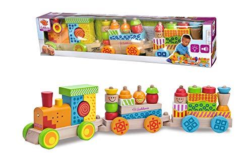 Eichhorn 195029 100002236 - Tren colorido con función de luz y sonido y 28 bloques de construcción, 31 piezas, longitud: 59 cm, incluidas las pilas, madera de abedul