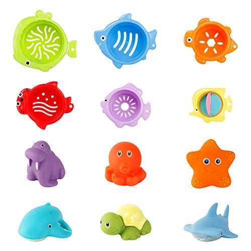 Juego de juguetes de baño para niños SIMUR, 12 piezas, vasos de drenaje, juguetes apilables, vasos apilados, juego de juguetes de baño para niños, juguete de baño sin BPA, juguete de arena
