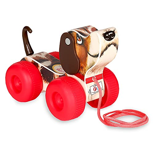Fisher-Price classic FISH800500 retro pequeño rastreador, juguete de arrastre con ruedas, perro con cola y orejas oscilantes, perro de arrastre para la habitación de los niños, para bebés y niños pequeños a partir de 1 año