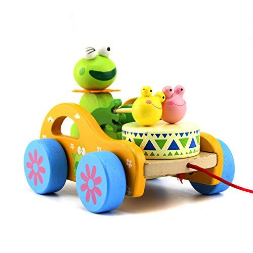 FakeFace juguete de rana de tambor para bebé, juguete para arrastrar, hecho de madera, coche con ruedas, juguete para empujar y tirar, juguete para arrastrar, juguete para arrastrar desde 1 año para bebés y niños pequeños