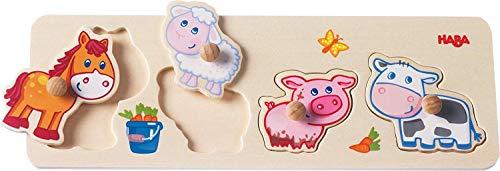 HABA 301939 - Rompecabezas de alcance - animales de granja para niños, rompecabezas de madera de 4 piezas con motivos de animales y grandes botones de madera para agarrar, juguetes de madera a partir de los 12 meses