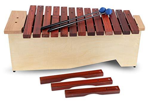 Xilófono alto Classic Cantabile AX-1600NG (xilófono alto, 16 tonos, escala C mayor, rango: c 'a a' ', caja de resonancia de madera de tilo, mazo) madera de tilo