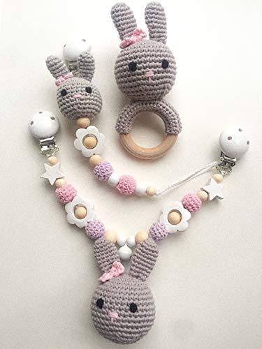 Conjunto de cadena chupete, cadena cochecito y sonajero para bebés que se puede personalizar con nombres, con abalorios / animales de ganchillo (sin personalización - niñas)