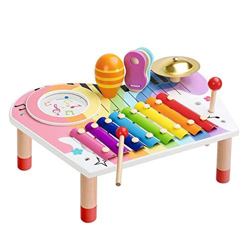 BeebeeRun - Juego de xilófono y martillo para bebé, juego de instrumentos musicales, xilófono para niños de madera, juego de regalo de cumpleaños para niños y niñas (10 piezas)
