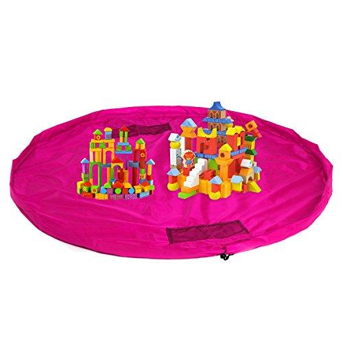 HIMRY XXL Bolsa de almacenamiento de juguetes, tapete de juego impermeable para jugar y ordenar, colección rápida Legos, Dupla, etc., bolsa de almacenamiento para juguetes, rosa KXD4005 rosa