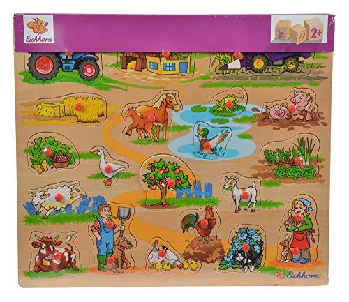 Eichhorn 100005454 - puzzle enchufable 40x35cm con 21-23 piezas enchufables, motivos: safari, granja, tráfico, volumen de suministro 1 pieza, contrachapado de tilo 100% certificado FSC, modelos surtidos