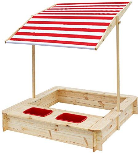 beluga Spielwaren 50380 - Cajón de arena con zona de agua y barro y techo rojo / blanco, natural / rojo