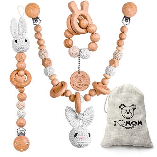 ARTESTAR - Cadena para cochecito de conejo, juguetes de madera para bebé, bonitos juguetes para agarrar madera, 3 piezas de cadena para cochecito de conejo, cadena de chupete de ganchillo