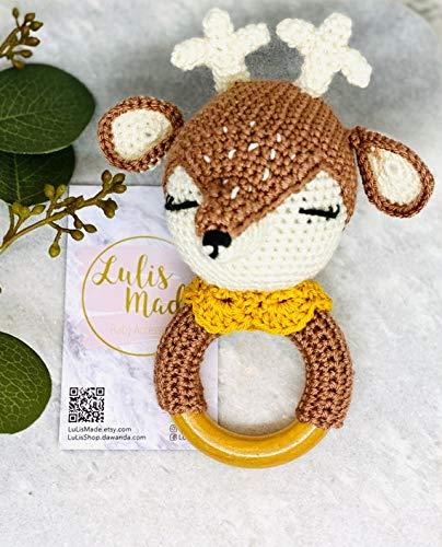 Mordedor crochet bebé sonajero crochet mordedor madera agarre juguete bebé sonajero regalo para nacimiento o bautizo niño y niña (ciervo F001R)