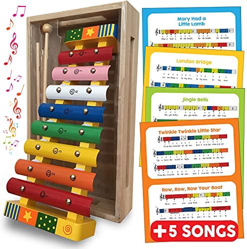 Xilófono juguete de madera para bebés y niños, instrumento musical de percusión glockenspiel para niños pequeños con partituras (inglés), con teclas de metal de colores y dos mazos de madera y una caja de madera, regalos - instrumentos musicales para bebés y niños pequeños juguete de regalo