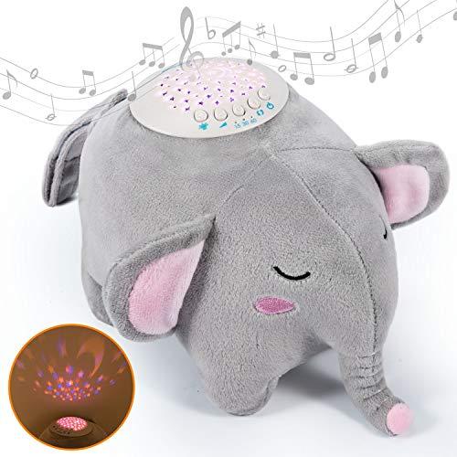 Momcozy ayuda para dormir para bebés y adultos, elefante portátil hecho de felpa caja de música para bebés con 15 música relajante, luz nocturna de 3 colores con proyector de cielo estrellado, regalo para niños y niñas