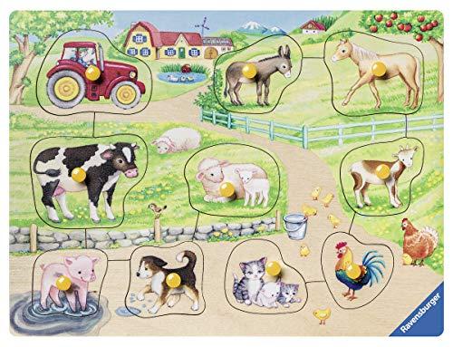 Rompecabezas para niños Ravensburger 03689 - Mañana en la granja - Rompecabezas de madera de 10 piezas