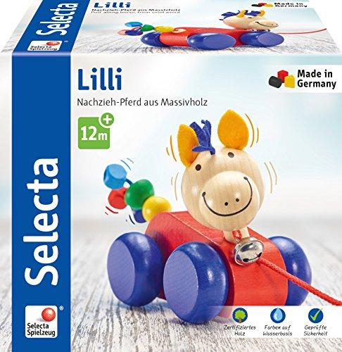 Selecta 62025 Lilli, caballo de arrastre, juguete para empujar y tirar de madera, 12 cm