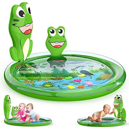 Kaome - Alfombrilla de agua para bebé, sin BPA, grande, grande, inflable, para jugar, juguetes para bebés a partir de 3 6 9 meses, alfombra para estar boca abajo para centros de actividades de desarrollo temprano del bebé