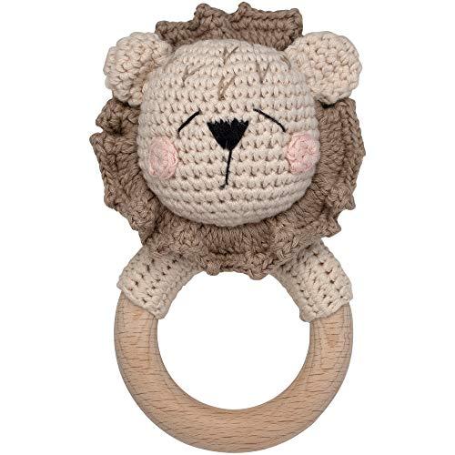 Mordedor de ganchillo animales león con sonajero integrado, juguete de agarre mordedor |  Regalo de nacimiento para bebé y niños niño / niña (Leo Sleepy)