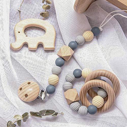 Mamimami Home, 3 piezas de hilo, pulsera de silicona para bebé, cadena de chupete práctica para dentición con elefante de haya, regalo para Baby Shower